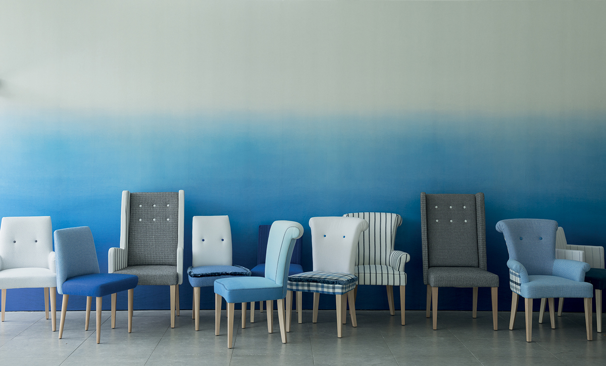 Blue Dining Chairs of Designers Guild at the Stockholm Design Week