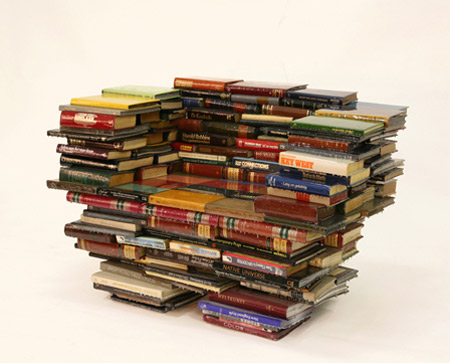 recicled books into furniture