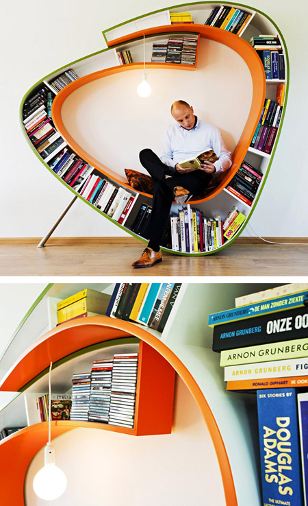 Bookshelf with geometric design