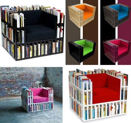 Sofá / estantería. Su estructura permite almazenar libros en los huecos.
