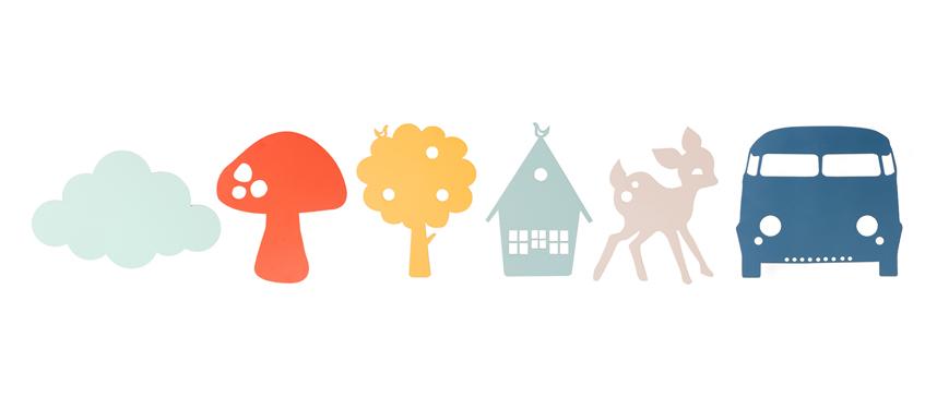 Colores y formas de la colección de lámparas infantiles Wall Lamp de ferm LIVING.